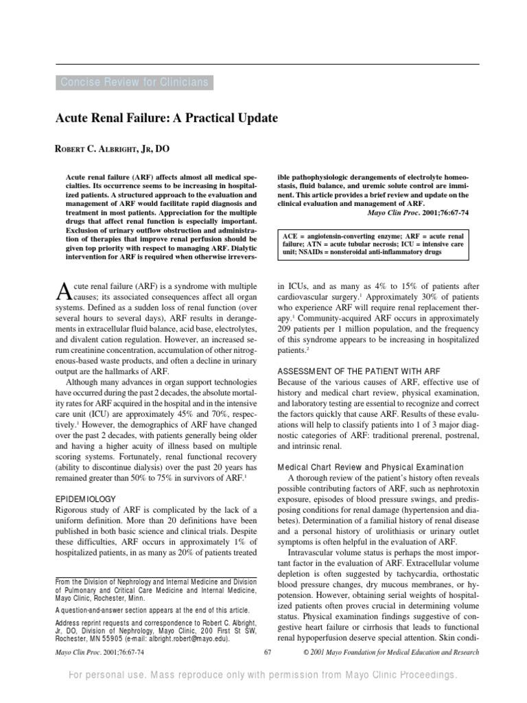 Acute Renal Failure | Creatinine | Dialysis