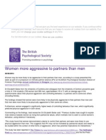 Women More Aggressive to Partners Than Men Shows Study 2014
