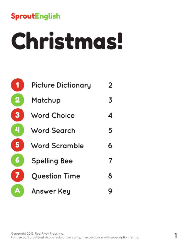 Worksheet Spelling Bee Questions And Answers christmas vocabulary sproutenglish santa claus tree