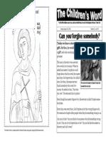 Children's Word bulletin for Sunday, August 24, 2014