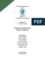 Examenes de Laboratorio y Química Sanguínea