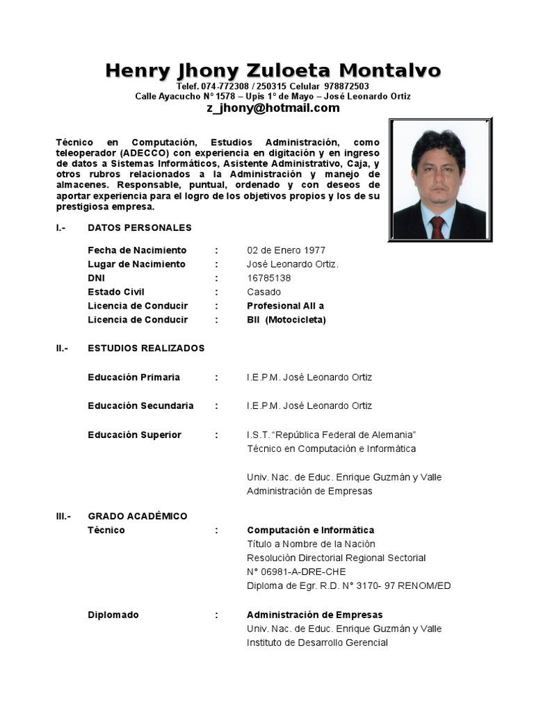 Único Plantillas De Curriculum Vitae Chofer Viñeta - Ejemplo De ...