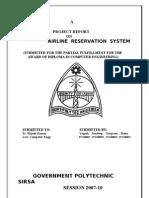 AIRLINE RESRVATION System Report in vb6.0