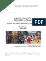 Derecho a La Ciudad y Modelos de Gestión