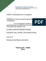 Trabajo de Metodologia de La Investigacion Fecha de Entrega 30 de Julio 2014