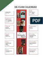 2014 Book Club CalendarX