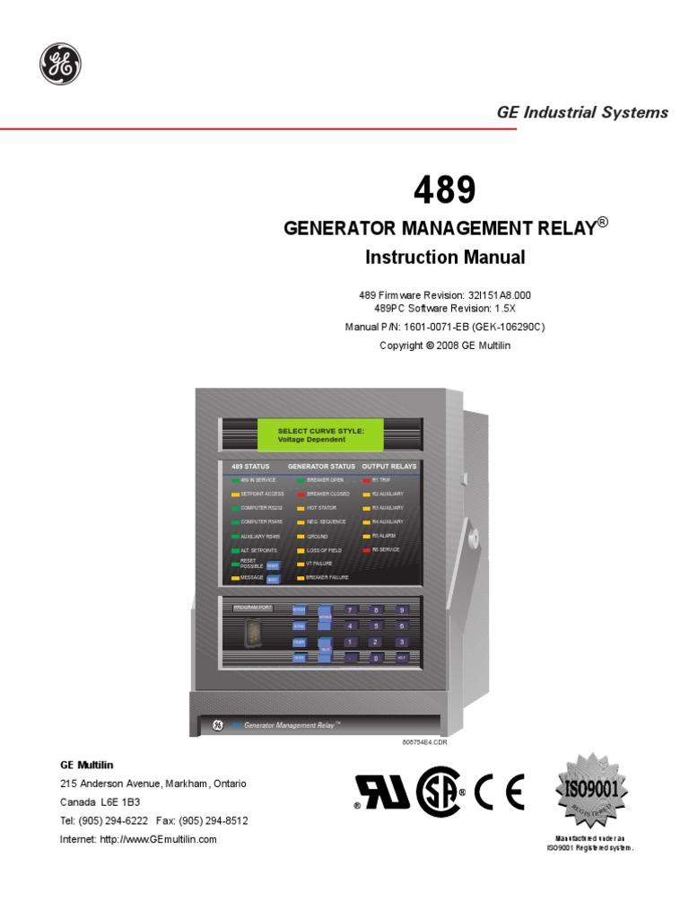 generator management relay 489 ac power relay rh scribd com GE Control Relays ABB Relays Manuals