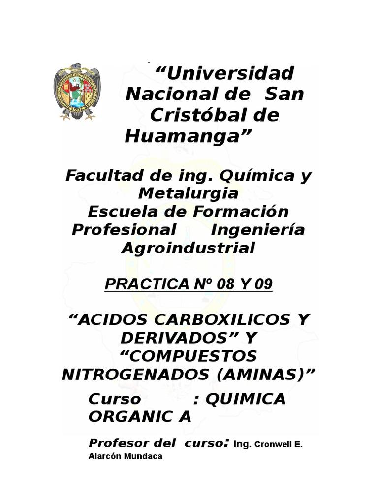 PRACTICA de Quimica Organica 8 y 9