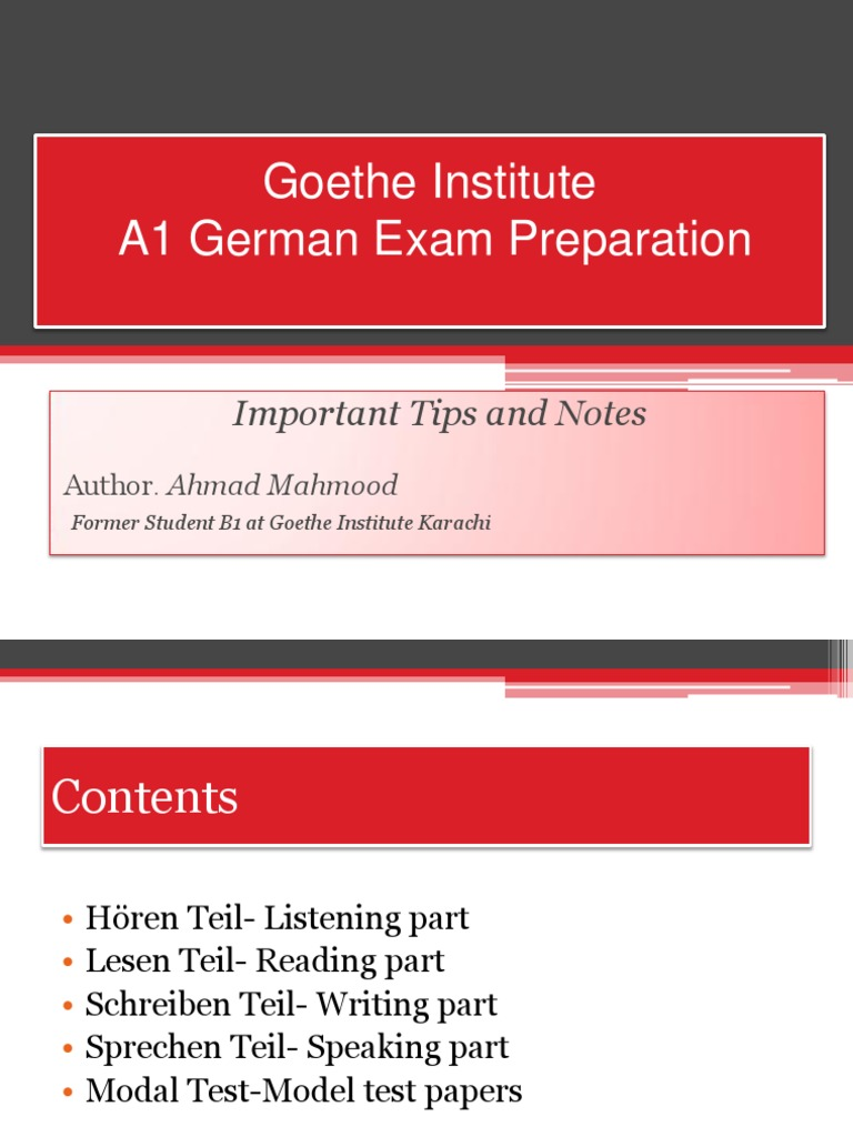 Goethe Institute German A1 Test Preparation German Language 18k