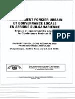 Aménagement Foncier Urbain Et Gouvernance Locale en Afrique Sub-saharienne