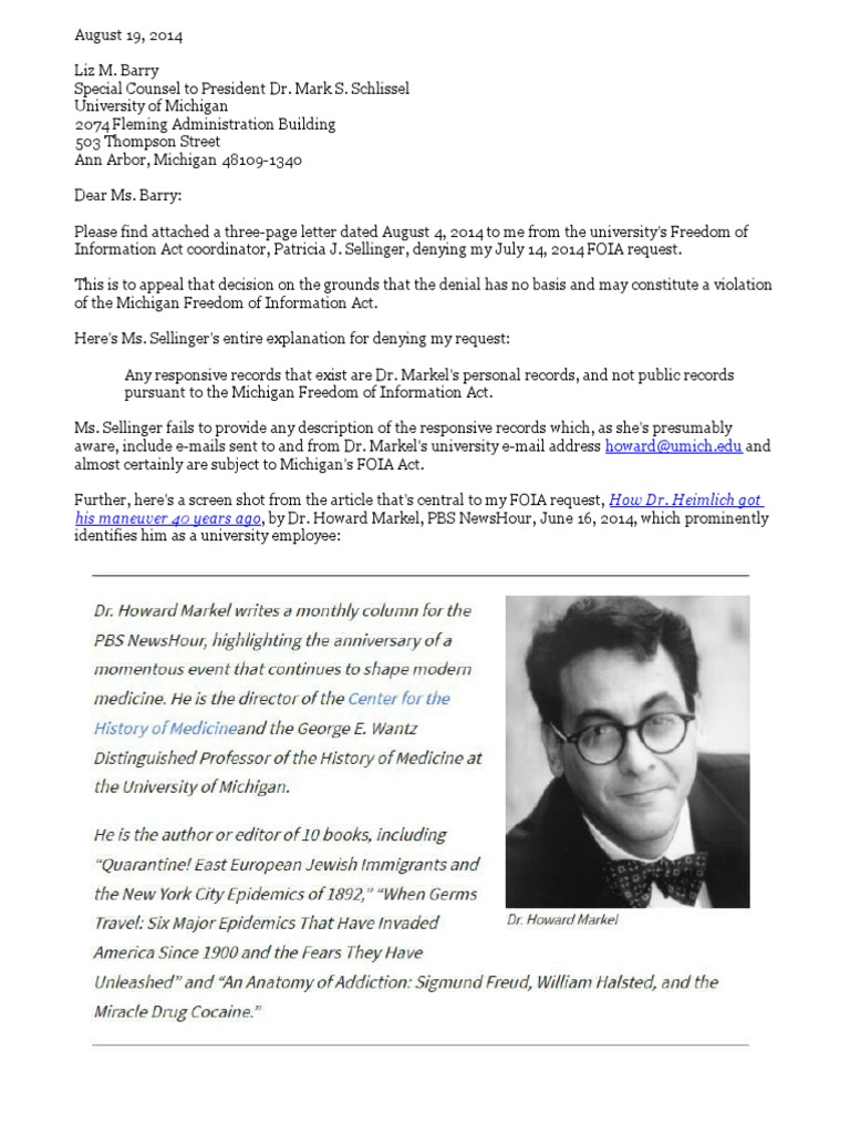 My 81914 Appeal To Umich Presidents Office Re Denial Of My Foia