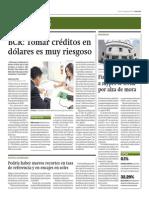 BCR_Tomar Créditos en Dólares Es Muy Riesgoso_Gestión 21-08-2014