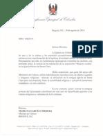 Carta Del Presidente de La Confrerencia Episcopal a La Minista de Cultura
