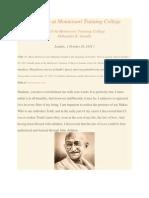 Gandhi Speaks at Montessori Training College