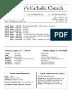 Bulletin for August 24, 2014
