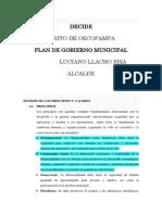 Plan de Gobierno de Orcopampa -Decide 2011