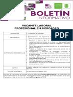 VACANTE LABORAL  PROFESIONAL EN MERCADEO