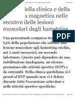 Il Ruolo Della Clinica e Della Risonanza Magnetica Nelle Recidive Delle Lesioni Muscolari Degli Hamstring