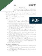 UNICEF Belize Vacancy Notice - Admin Assistant