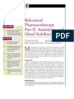 Behavioral Pharmacotheraphy.part 2.Anxiolytics and Mood Stabilizers