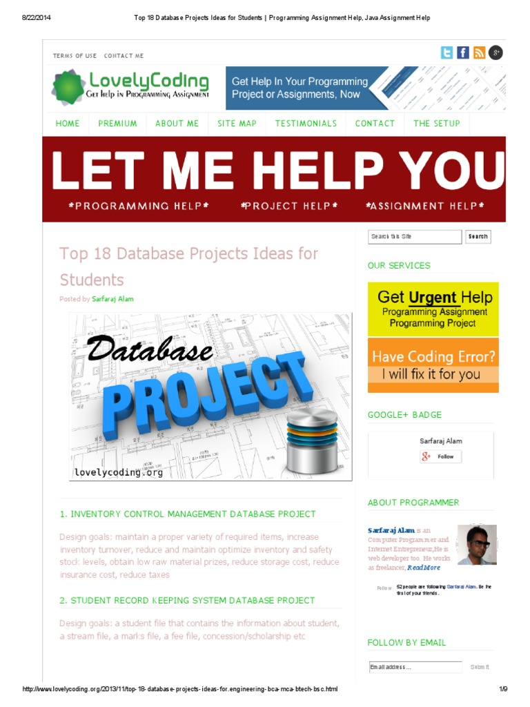 Top 18 Database Projects Ideas for Students _ Programming Assignment