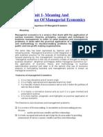 Manegerial Economics for Quick Revision