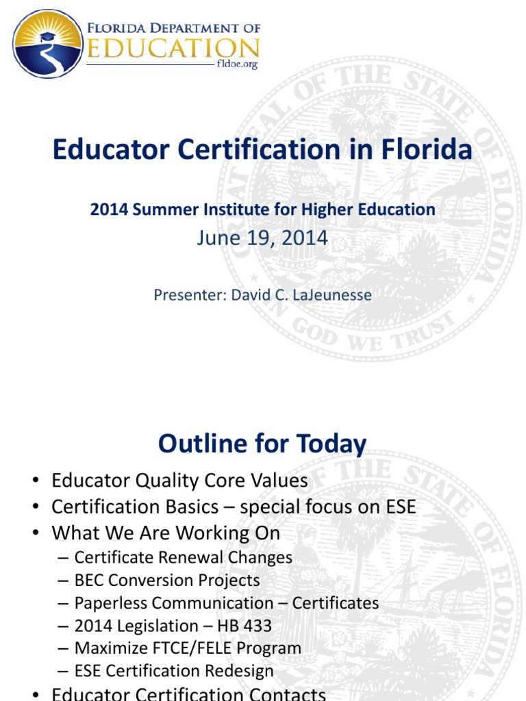 Educator Certification Presented By David Lajeunesse