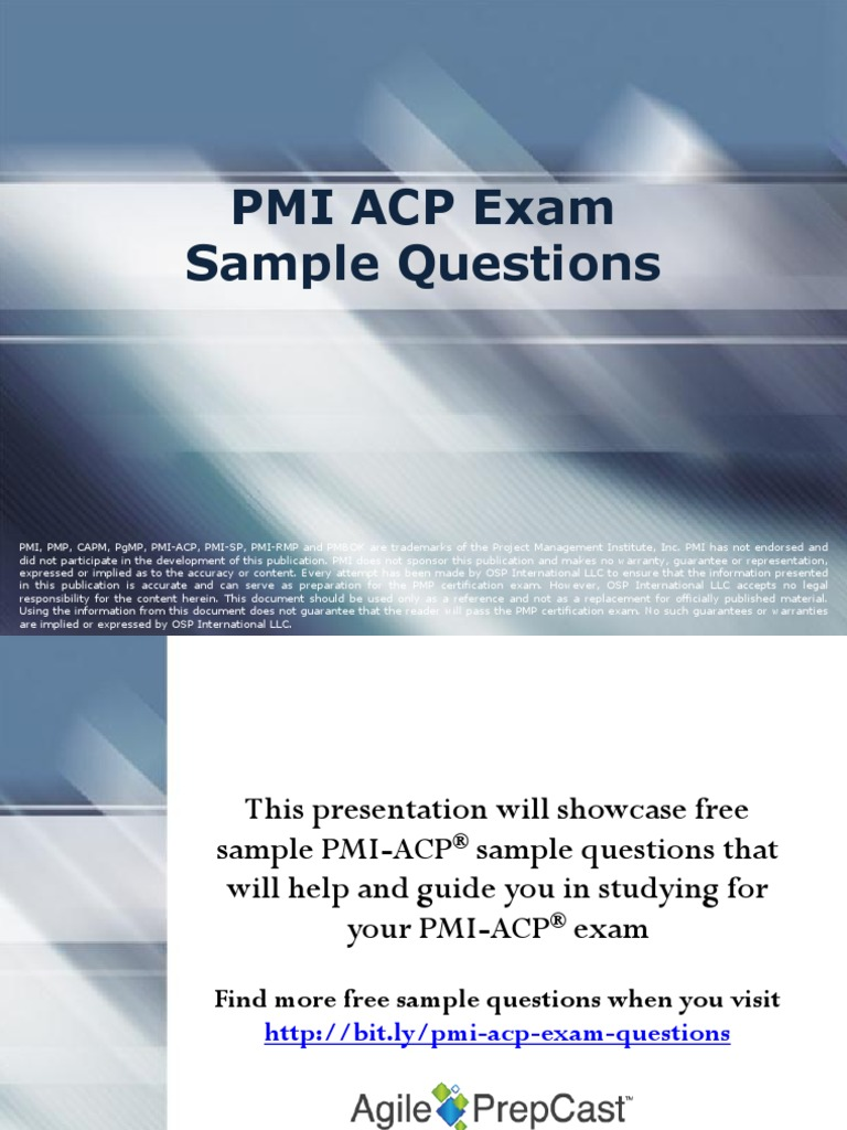 Pmi Acp Exam Sample Questions Agile Software Development Risk
