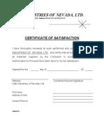 Certificate of Satisfaction