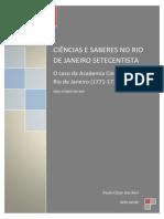 Ciências e Saberes No Rio de Janeiro Setecentista Final
