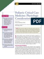 Pediatric Critical Care Medicine-physiologic Considerations