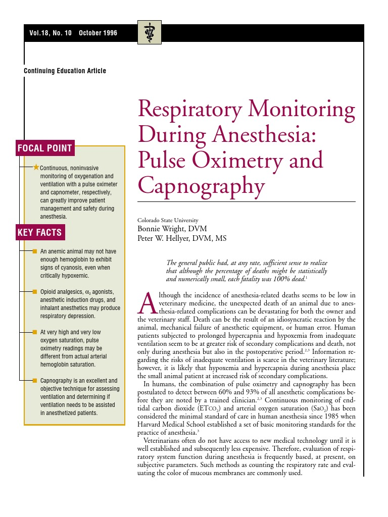 Respiratory Monitoring During Anasthesia Pulse Oximetry and
