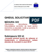 Ghidul Solicitantului Pentru Masura 322 D