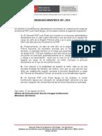 COMUNICADO MININTER N° 007 - 2014