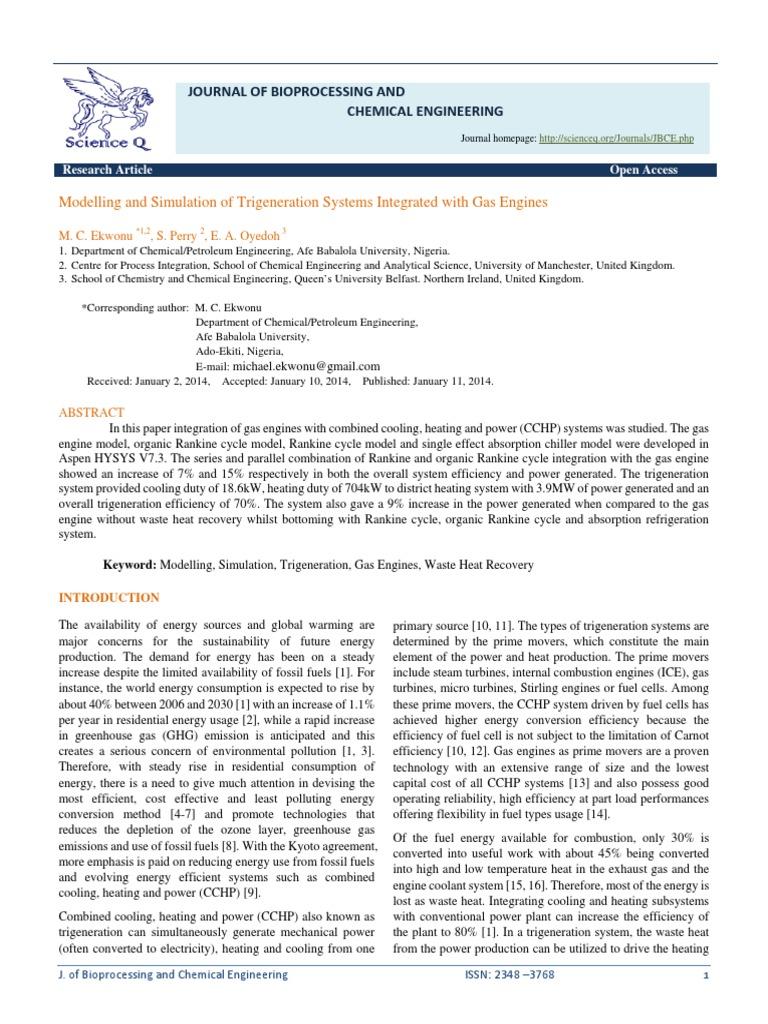 Ekwonu 2014 Jbcepdf Cogeneration Refrigeration