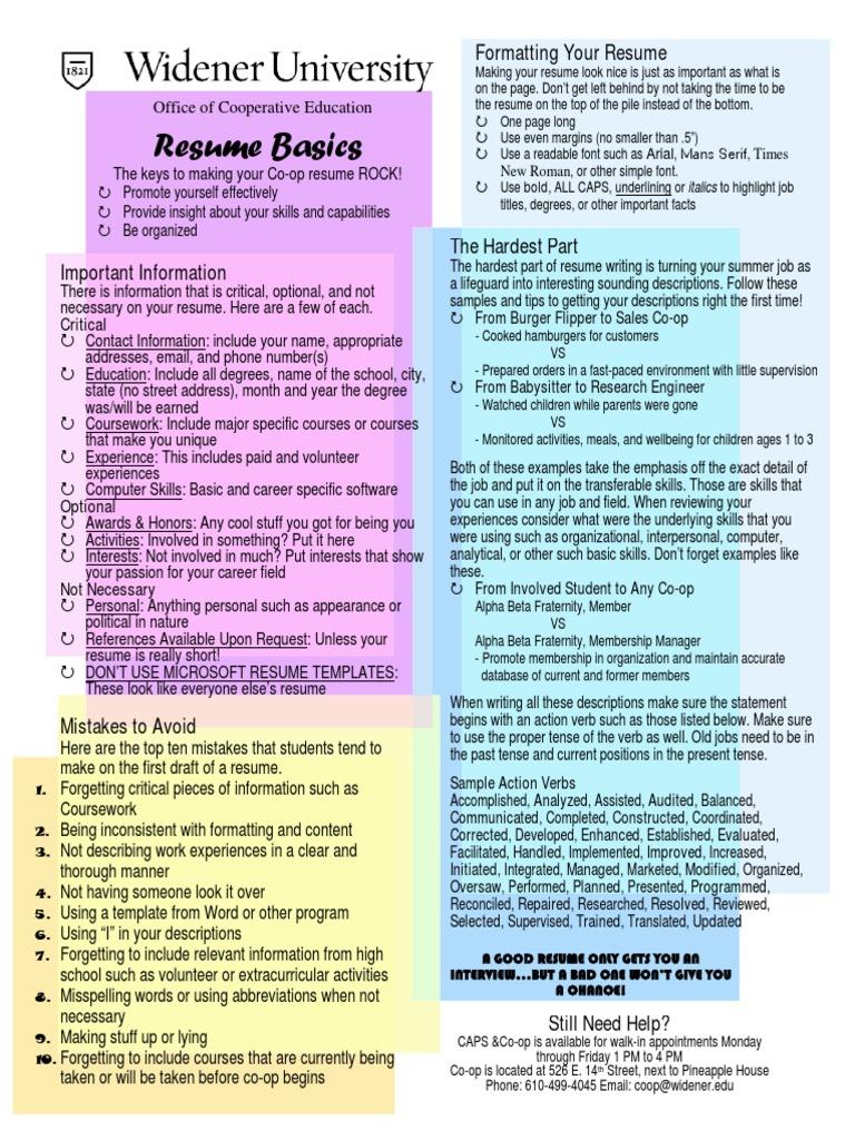 resume draft guide