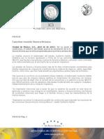 26-04-2010 El Gobernador Guillermo Padrés tras reunirse con el presidente Felipe Calderón, anunció la cancelación de la 51 reunión plenaria de la comisión Sonora-Arizona, por no existir en estos momentos la condiciones y en protesta simbolica por la ley antimigrante SB 1070 de Arizona.  B0410132