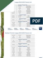 Premier League 2014-2015 Fixtures