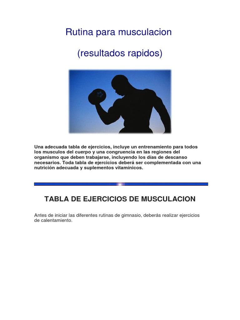 rutina de musculacion 5 dias pdf