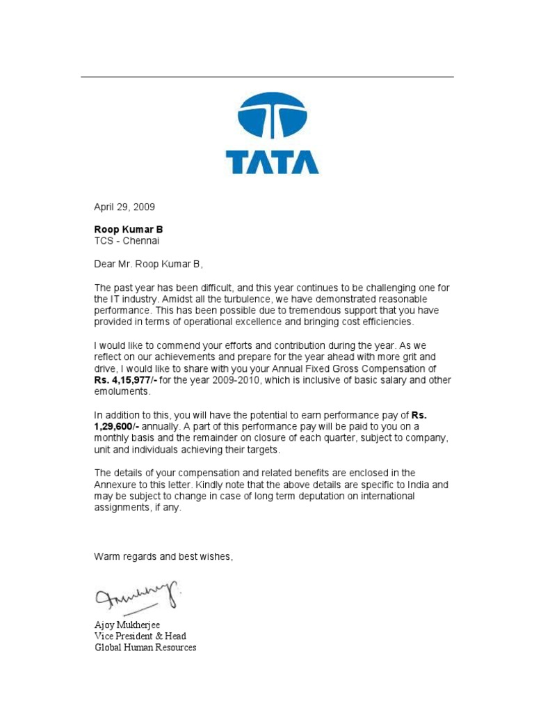 compensation letter taxes salary