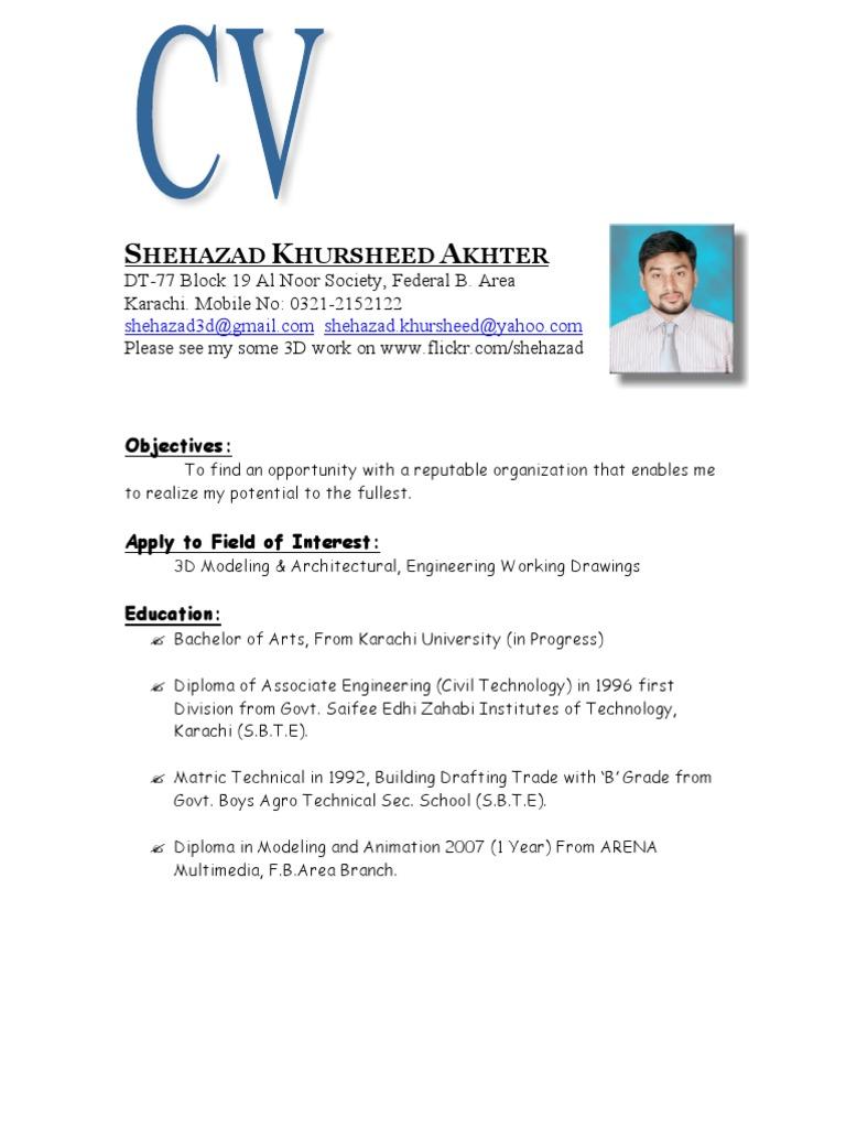 Shehazad Autocad 3d Max Modeling Cv Architect Technology