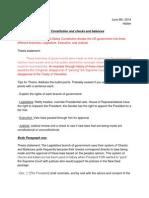 Hatlen Outline #2 (DBQ on Checks and Balances)