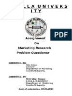 Assignment Cover for Mrketing Research