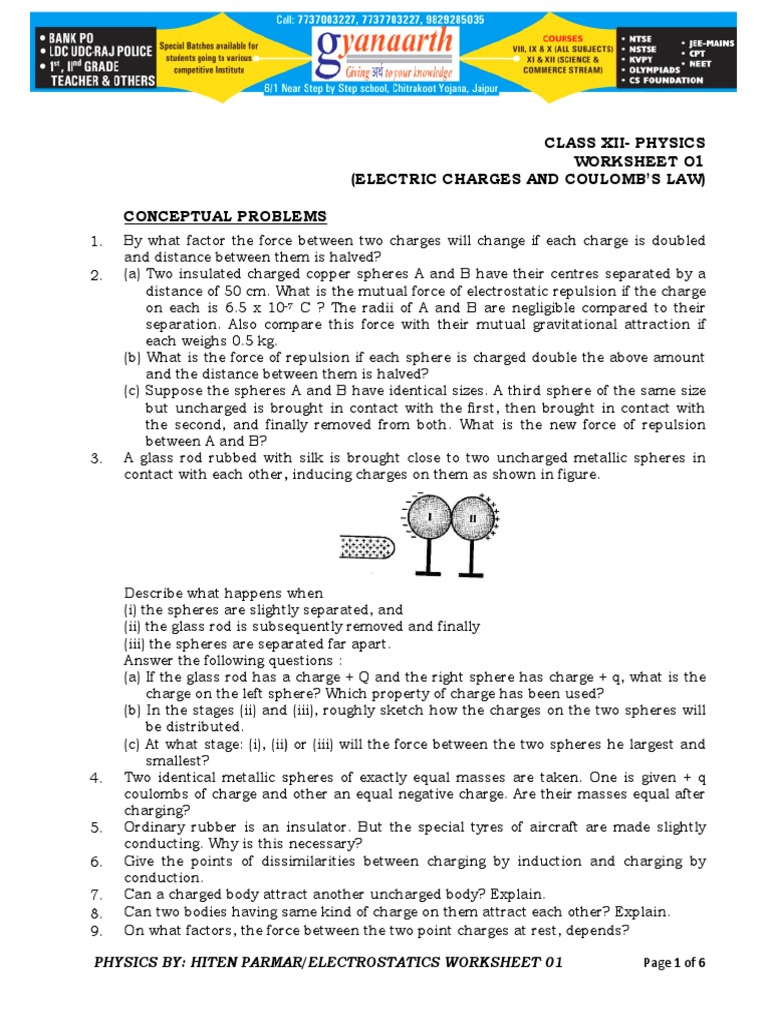 Electro Wrksheet 01 Electric Charge – Electrostatics Worksheet