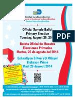Aug. 26th Primary Election Sample Ballot