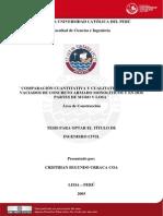 2005 Comparación Cuantitativa y Cualitativa Entre Los Vaciados de Concreto Armado Monoliticos y en Dos Partes de Muro y Losa