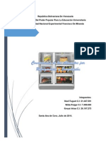 Conservacion de Los Alimentos Por Refrigeracion. Noelito