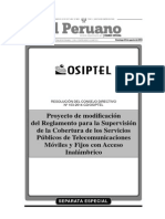 Proyecto de modificación del Reglamento para la Supervisión de la Cobertura de los Servicios Públicos de Telecomunicaciones Móviles y Fijos con Acceso Inalámbrico