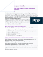 Adult Learning Theory and Principles
