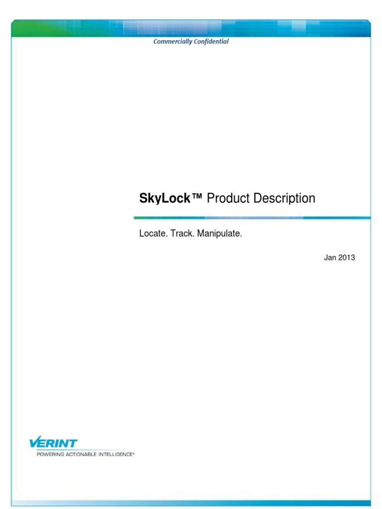 SkyLock Product Description: Locate  Track  Manipulate  (January